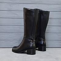 Сапоги женские из натуральной кожи на широком каблуке