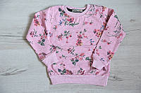"""Джемпер для девочки """"цветы"""" розовый, размер  5-6,7-8"""