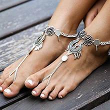 Восточный браслет на ногу металл
