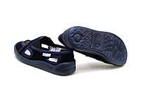 Тапки на мальчика темно - синие Vitaliya. Сменная обувь тапочки на липучке Украина р.28-32