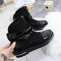 Ботинки женские черные с лаковым носочком, женская обувь