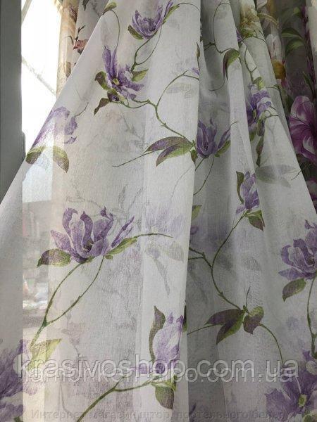 Тюль батист з малюнком квіти Пенелопа