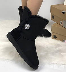 Натуральные угги UGG Australia (Реплика ААА+) Bailey Button Bling Black. Model: 5803