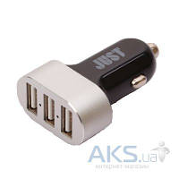 Зарядное JUST Evo Trio USB Car Charger (6.3A/31W, 3USB) (CCHRGR-V-BLCK) Black