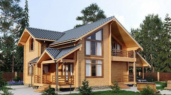Дом деревянный двухетажный из профилированного бруса 9х15 м