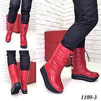 Женские кожаные сапоги  дутики зима красные, фото 1