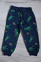 """Спортивные штаны """"динозавры"""", синие размер  1,2"""