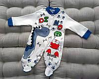 Комбинезон детский, интерлок, с динозаврами, темно-синего цвета, размеры: 56, 62, 68