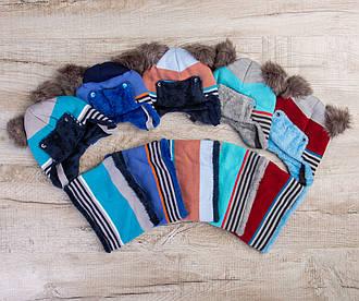 Комплект шапка и снуд на зиму для малышей - Артикул 1225