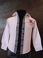 Белая рубашка для мальчиков 80,98 роста Планочка синяя