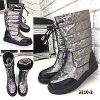 Детские зимние кожаные сапоги дутики серебро 9a47df3298958