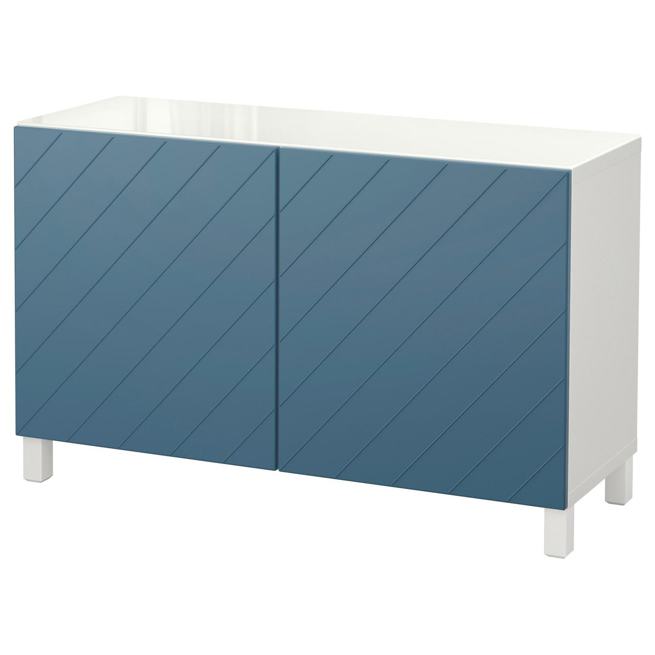 Тумба IKEA BESTÅ 120x40x74 см Hallstavik белая темно-синяя 492.101.53