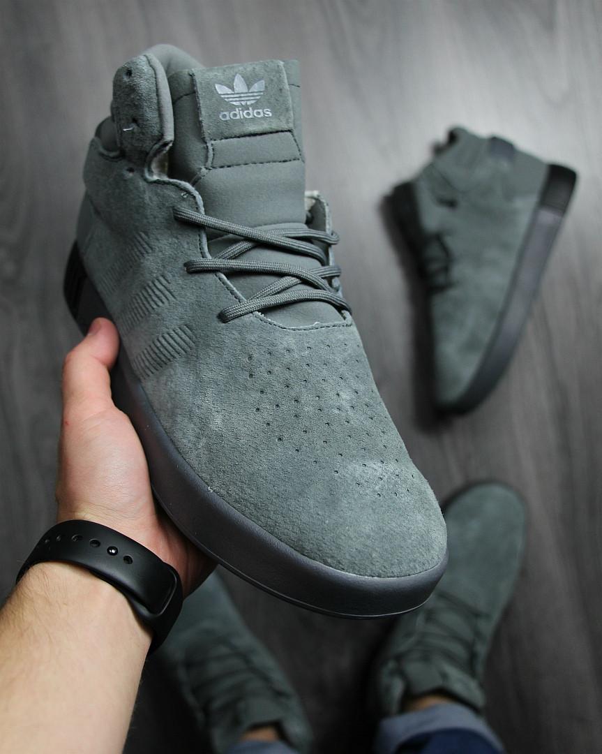 86af33bc ... Кеды мужские Adidas зимние в замше стильные высокие на шнуровке на меху  (серые), ...
