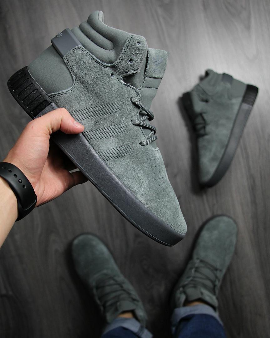b6c2aecc Кеды мужские Adidas зимние в замше стильные высокие на шнуровке на меху ( серые),