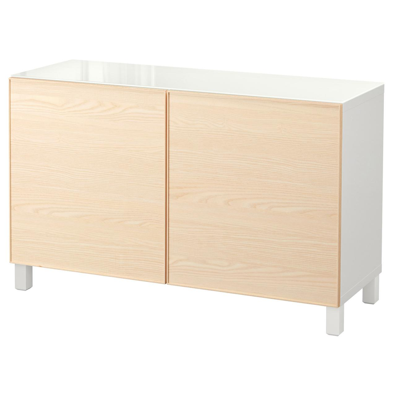 Тумба IKEA BESTÅ 120x40x74 см Inviken белая ясеневый шпон 092.111.21