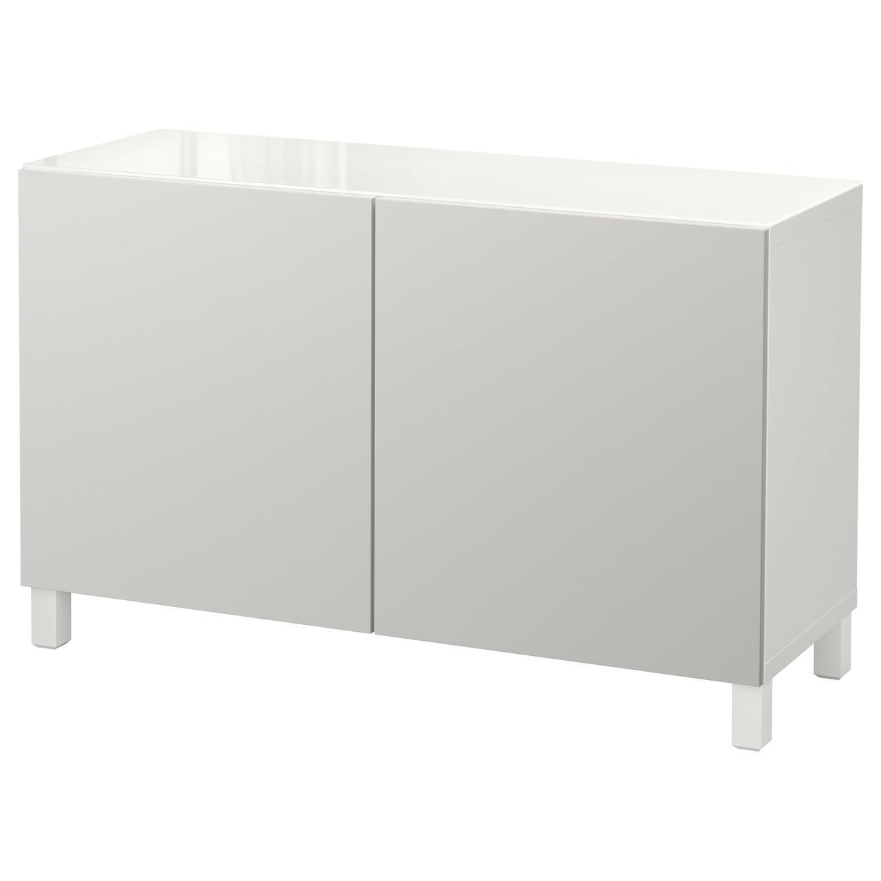 Тумба IKEA BESTÅ 120x40x74 см Lappviken белая светло-серая 192.101.59