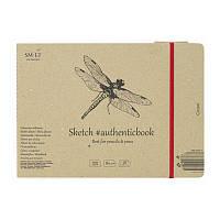 Альбом для ескизов AUTHENTIC 24,5х17,6см 135г/м2 28л коричневый цвет SMILTAINIS, 5EB-28ST/NTB