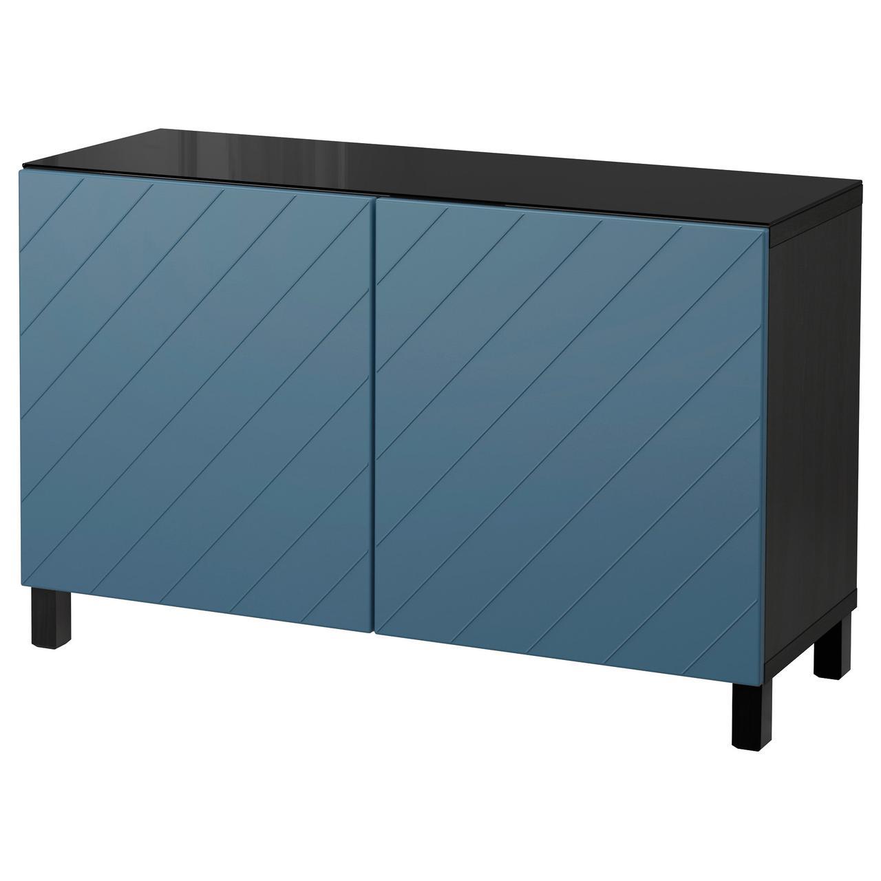 Тумба IKEA BESTÅ 120x40x74 см Hallstavik темно-синяя темно-коричневая 792.101.04