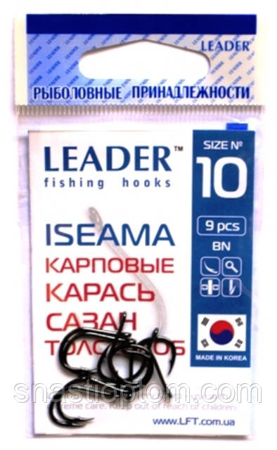 Крючки для рыбалки Лидер ISEAMA BN №10, 9шт