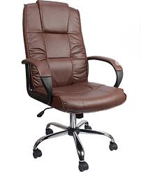 Крісло офісне обертається зі шкіри Коричневе Konsul 807 VIP