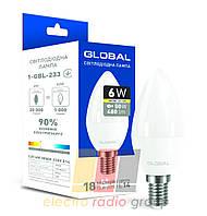 Светодиодная лампа  C37 CL-F 6W 3000K 220V E14, 1-GBL-233
