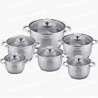 Набор кухонной посуды MaxMark 3512В из нержавеющей стали с многослойным дном 12 предметов