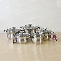 Набор кухонной посуды MaxMark 2510 из нержавеющей стали 10 предметов 1,8+1,5+2+3+5 л, фото 1