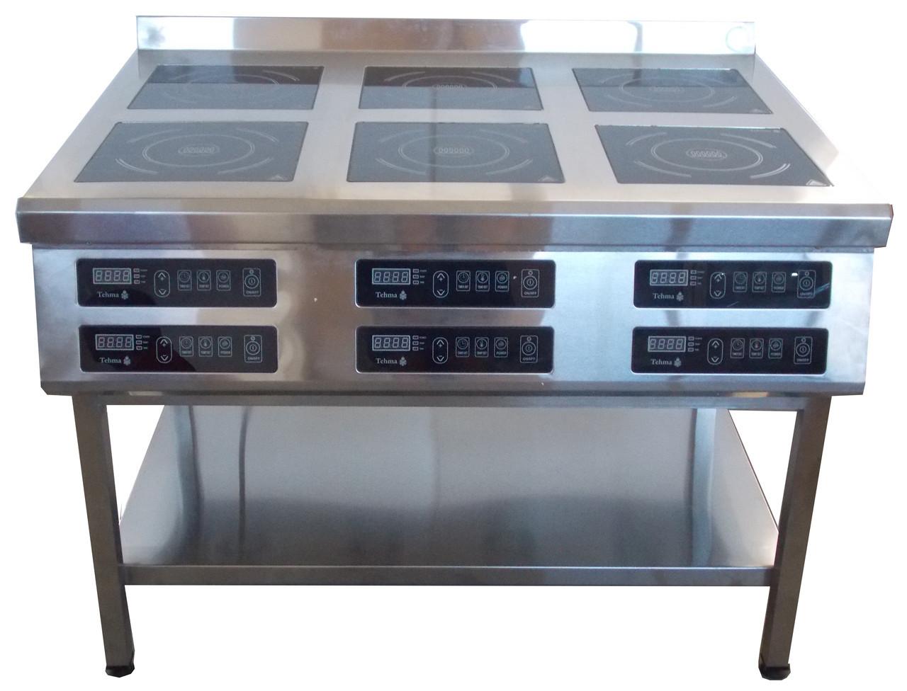Індукційна плита 6-ти конфорочна Tehma 2,8 кВт