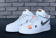 "Кроссовки мужские Nike Air Force High Just Do It ""Белые высокие"" р. 41-45, фото 1"