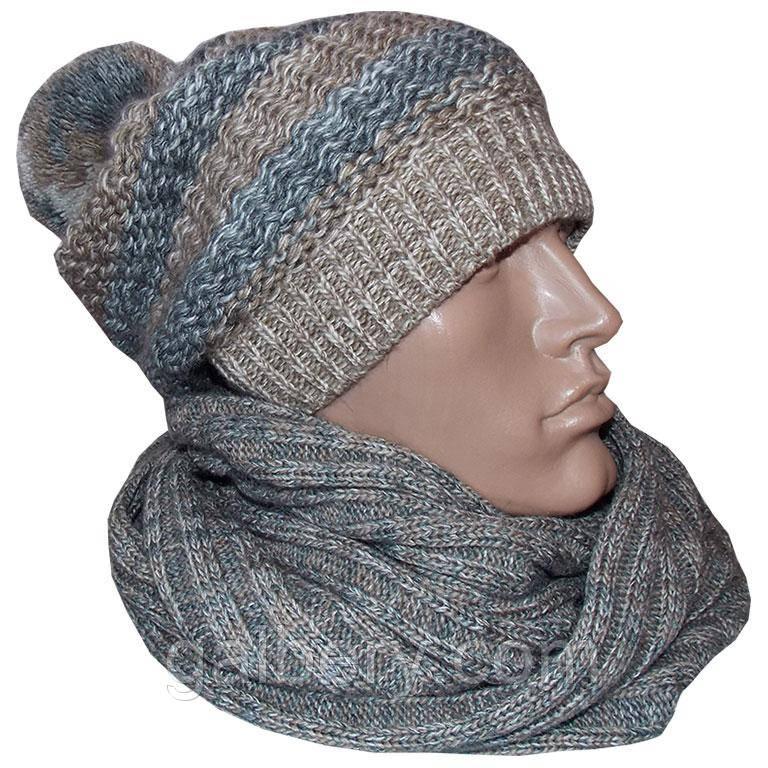 Зимняя шапка ручной работы и снуд