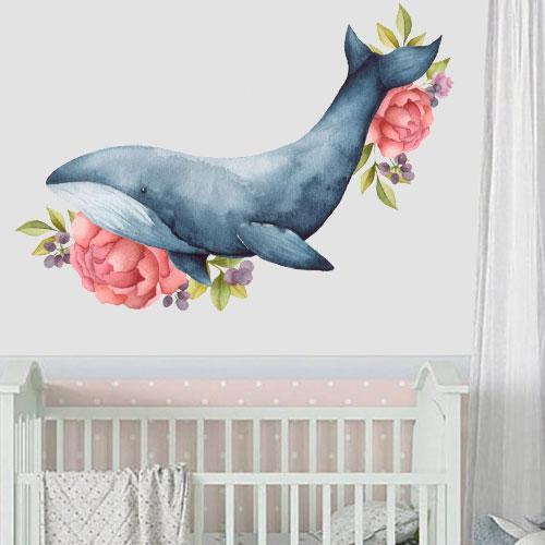 Интерьерная наклейка в детскую Акварельный Кит (самоклеющаяся пленка, рыба, цветы, пионы)