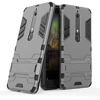 Чехол Nokia 6.1 / Nokia 6 New 2018 Hybrid Armored Case темно-серый