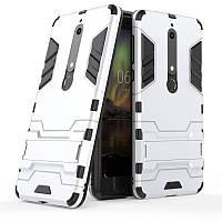 Чехол Nokia 6.1 / Nokia 6 New 2018 Hybrid Armored Case светло-серый
