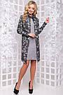 Женское платье, размеры от 44 до 50, серое с принтом, стильное, элегантное, деловое, повседневное, фото 4