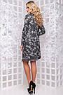 Женское платье, размеры от 44 до 50, серое с принтом, стильное, элегантное, деловое, повседневное, фото 6