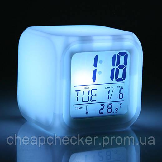 Часы Будильник Хамелеон Светящиеся Куб