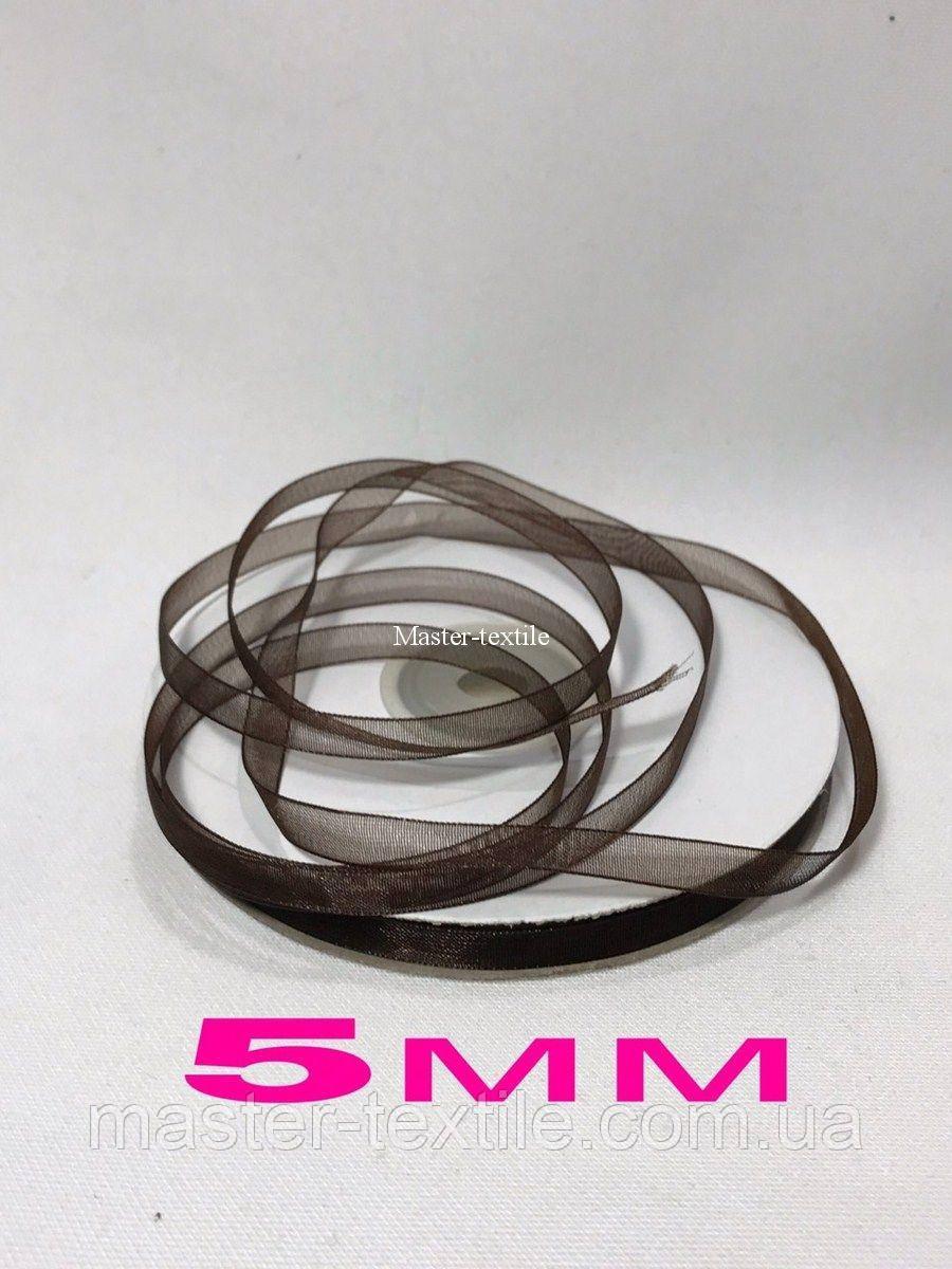 Лента из Органзы 5 мм/46 метров, цвет светлый коричневый, 20 шт/упаковка