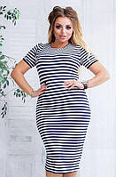 Платье летнее тельняшка на каждый день 48-54 размер