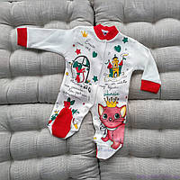 Человечек для новорожденной девочки, с кошечкой, красного цвета, размеры: 56, 62, 68