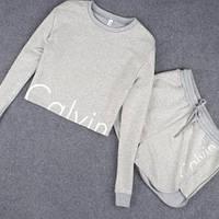 Женский спортивный костюм Calvin Klein Кельвин Кляйн шорты и кофта 2 цвета реплика, фото 1