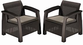 Кресло Keter Bahamas Duo set, коричневый - серо-бежевый (3253929000508)