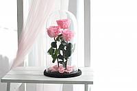 Три розы в стеклянной колбе Розовый кварц