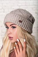 Теплая шапка объемной вязки, цвет лен