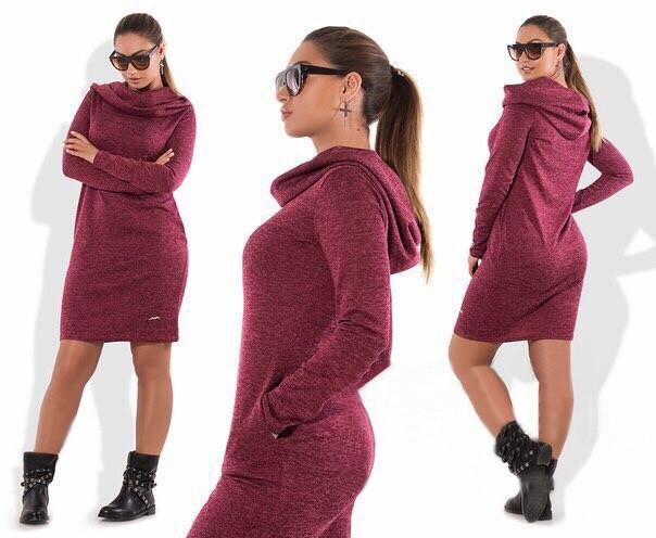 6589cc5f5555729 Женское платье батал 48 - 56 рр из ангоры с капюшоном и карманами -  Bambarbia в