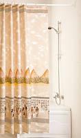 """Шторки для ванной и душа текстиль с кольцами точный размер 180 x 200 см """"Пирамида"""""""
