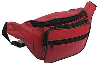 Кожаная сумка на пояс Cavaldi 904-353 red, красная 27х15х9 см.