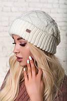 Зимняя шапка объемной вязки, цвет белый-молоко