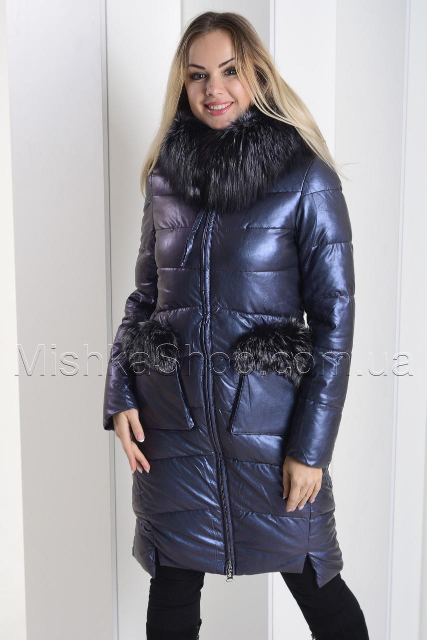 Экстравагантный пуховик из экокожи Ana Vista 07 с натуральным мехом чернобурки синего цвета