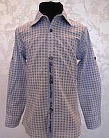 Подростковая рубашка на мальчика 164 роста с налокотниками комбинированная