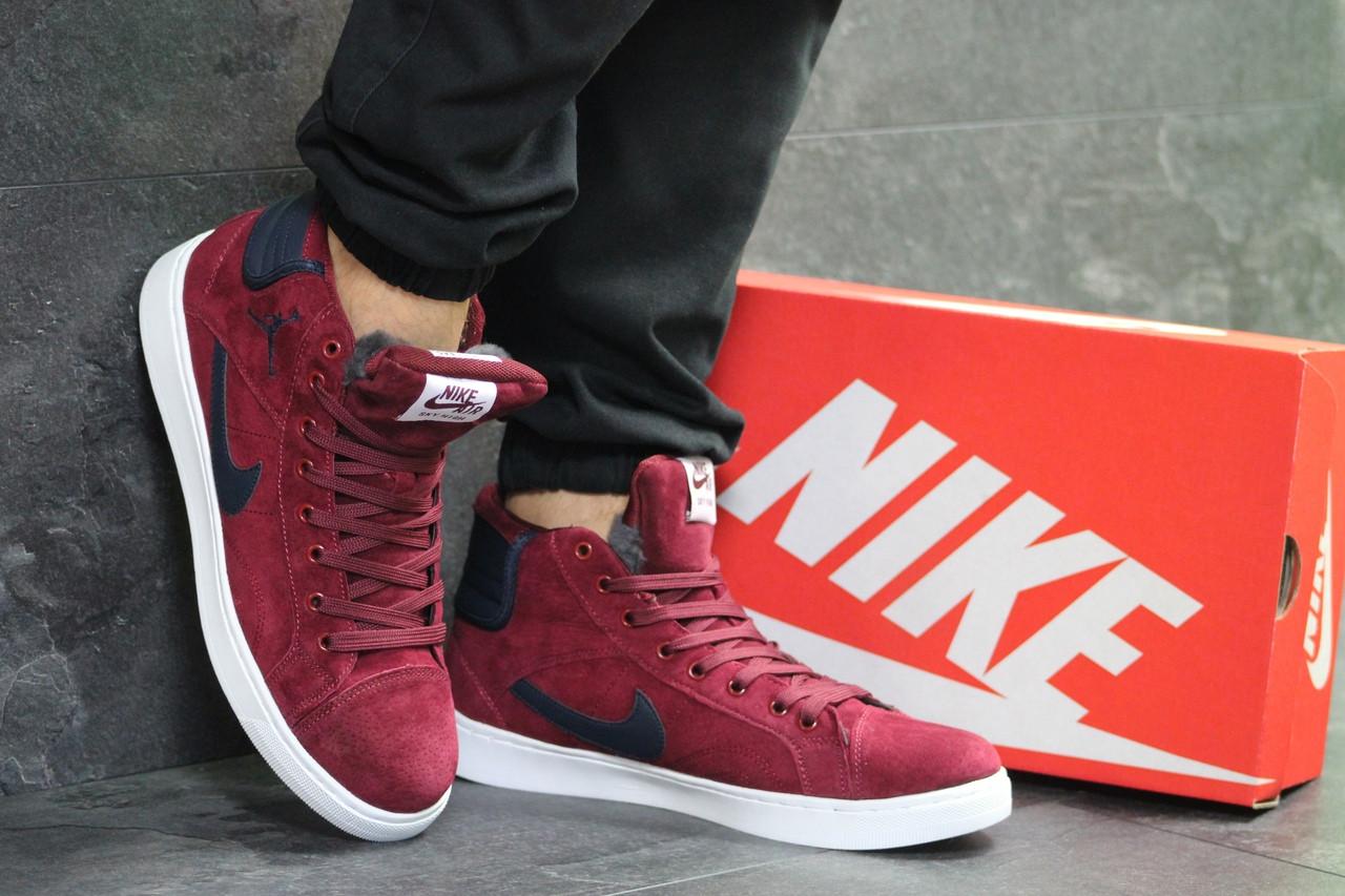 25b6b5ce Кеды мужские Nike Jordan зимние на меху яркие, найки молодежные теплые  замша+резина (